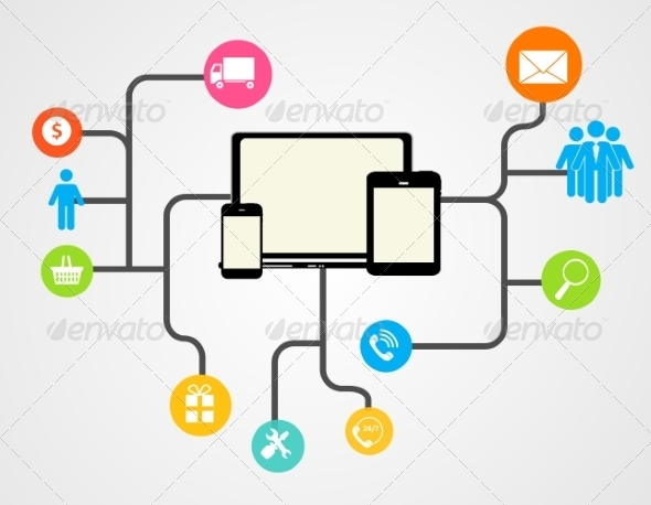 GraphicRiver Cloud Computing Concept on Different Electronic De 6835984