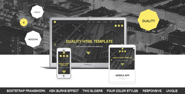Duality - Portfolio and Apps HTML5 Template - Creative Site Templates