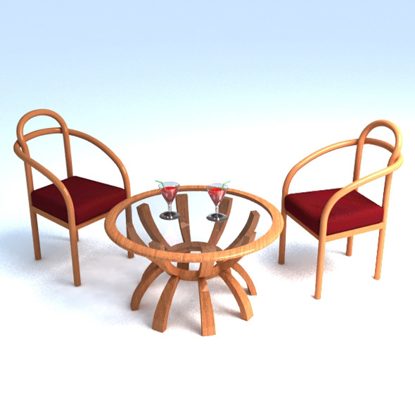 3DOcean table and 2 chair set 6837825