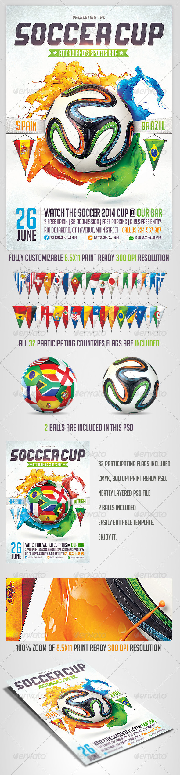 GraphicRiver Brazil Soccer Cup 2014 Flyer 6818539