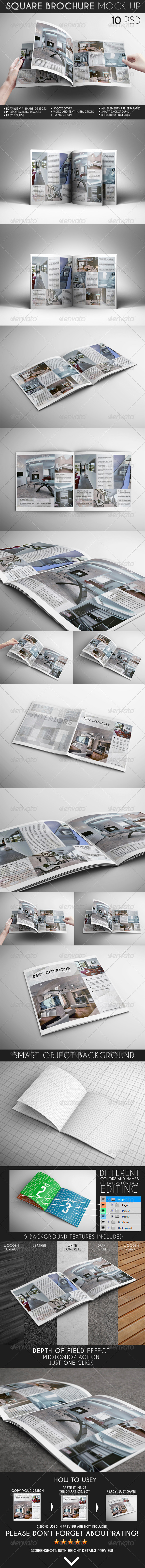 GraphicRiver Square Brochure Mock-Up 6838423