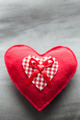 Handmade plush red heart on the soft pillow. Romantic love - PhotoDune Item for Sale
