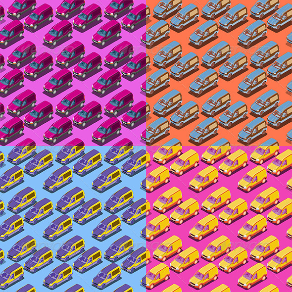 GraphicRiver Four Seamless Isometric Car Patterns 6838523
