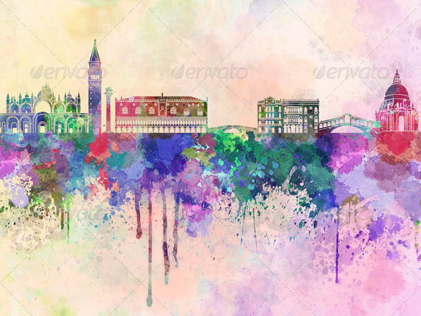 Venice skyline in watercolor background - Stock Photo - Images