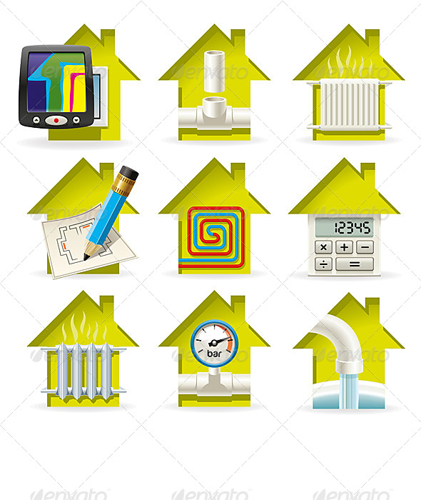 GraphicRiver Heating Home Icons 6839806