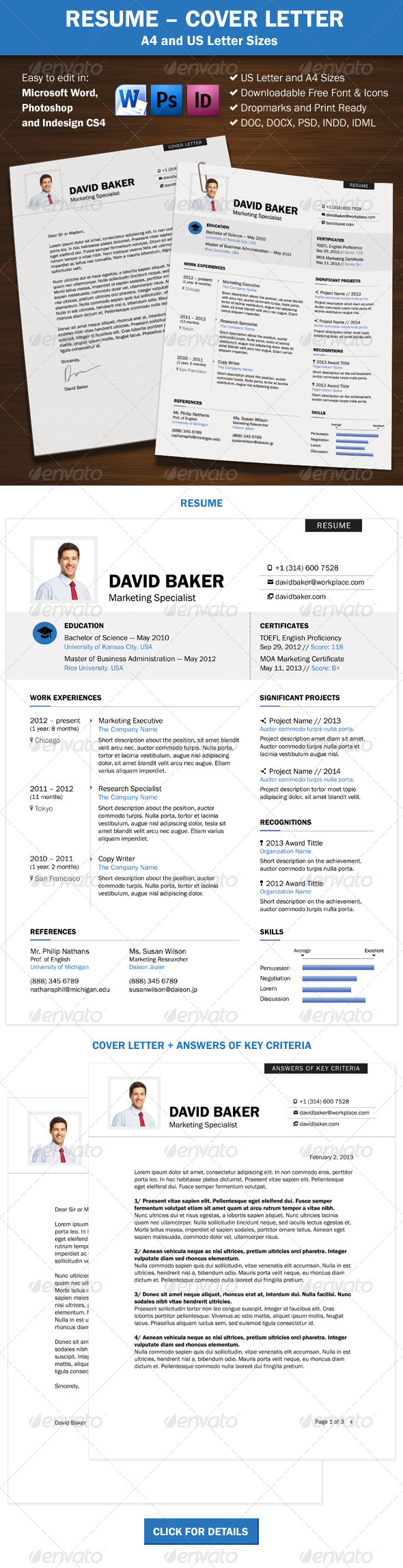 GraphicRiver Resume Cover Letter A4 and US Letter Sizes 6816929