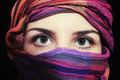 Portrait of beautiful green-eyed woman in hijab - PhotoDune Item for Sale