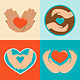 Charity and Volunteer Signs in Flat Style - GraphicRiver Item for Sale