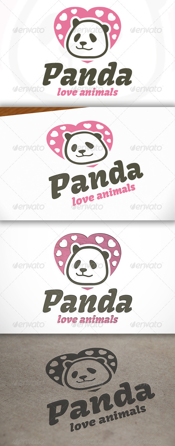 GraphicRiver Panda Love Logo 6840877