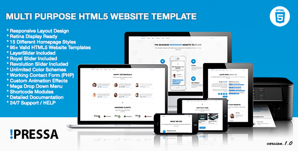 ThemeForest Pressa Multi Purpose HTML5 Website Template 6841385