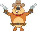 Brown Bulldog Cowboy Cartoon Character Holding Up Two Revolvers - PhotoDune Item for Sale