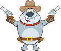 Gray Bulldog Cowboy Cartoon Character Holding Up Two Revolvers - PhotoDune Item for Sale