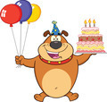 Birthday Brown Bulldog Cartoon Character Holding Up A Birthday Cake With Candles - PhotoDune Item for Sale