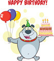 Happy Birthday Greeting With Gray Bulldog Holding Up A Birthday Cake With Candles - PhotoDune Item for Sale
