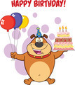 Happy Birthday Greeting With Brown Bulldog Holding Up A Birthday Cake With Candles - PhotoDune Item for Sale