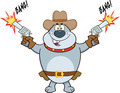 Gray Bulldog Cowboy Character Shooting With Two Guns - PhotoDune Item for Sale