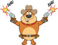 Brown Bulldog Cowboy Character Shooting With Two Guns - PhotoDune Item for Sale
