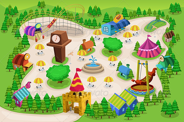 GraphicRiver Amusement Park Map 6823823