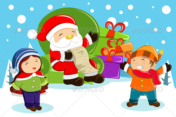 GraphicRiver Santa Claus Carrying Present Bags 6843446