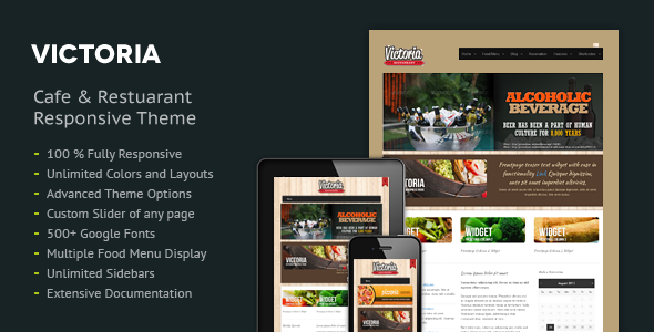Victoria Premium Restaurant Wordpress Theme - Restaurants & Cafes Entertainment