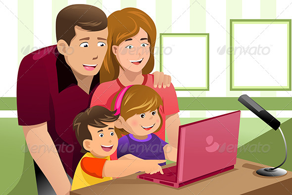 GraphicRiver Happy Family Looking at a Laptop 6844614