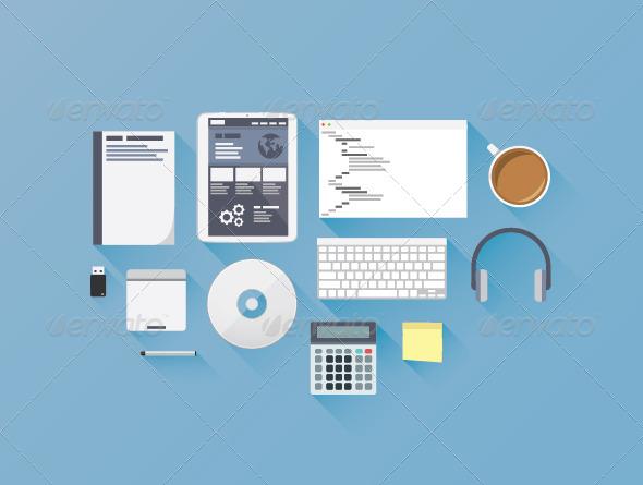 GraphicRiver Flat Web Development Coding Icon Set 6844764