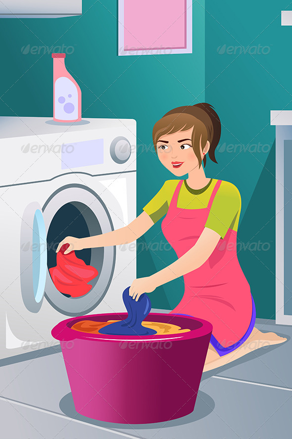GraphicRiver Housewife doing Laundry 6844838