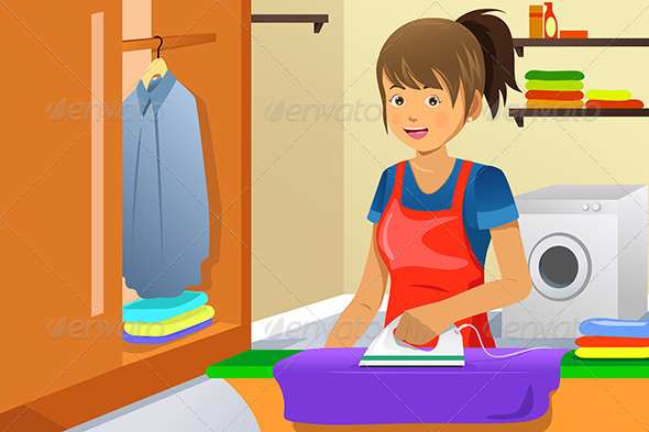 GraphicRiver Housewife Ironing 6844948