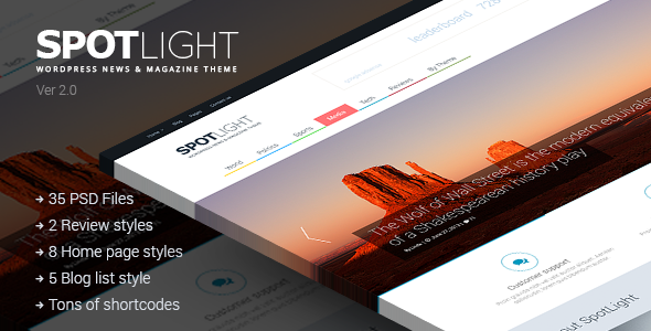 SpotLight is a News, Magazine and Blog Theme with a clean modern design and big functional options! This template has emphasis on content and different elements