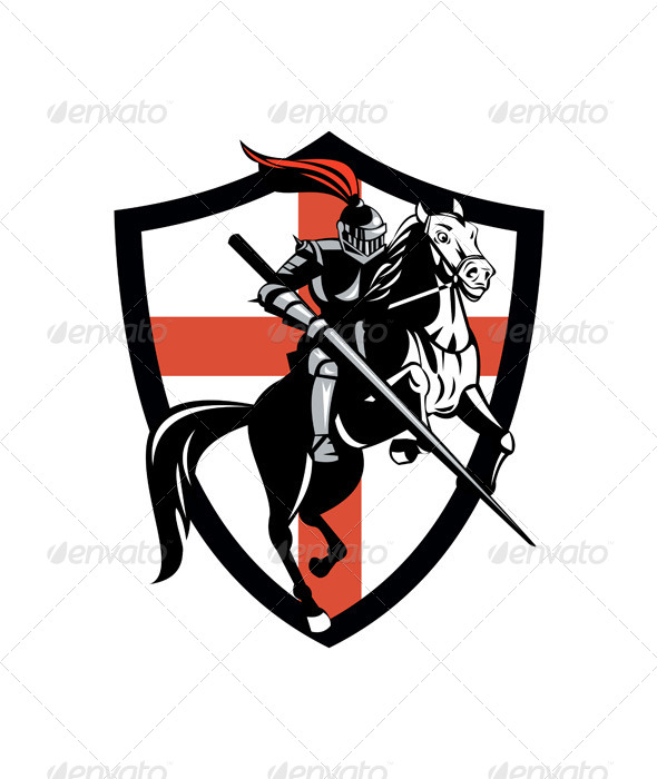 GraphicRiver English Knight Riding Horse England Flag Retro 6845557