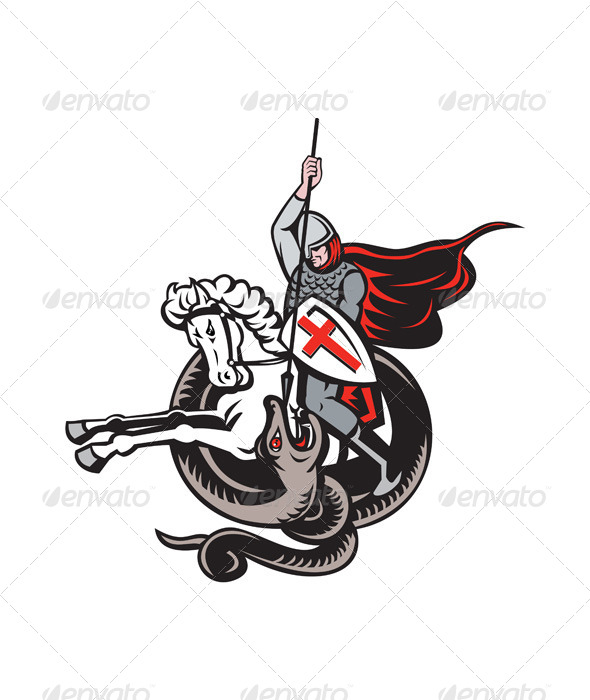 GraphicRiver English Knight Fighting Dragon England Flag Shield 6845558