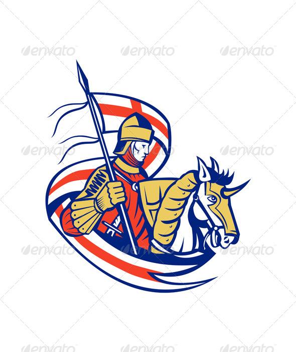GraphicRiver English Knight England Flag Shield Horse Retro 6845613