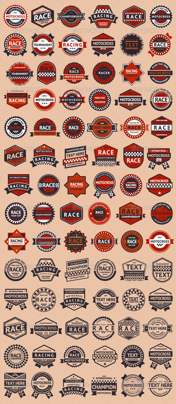 GraphicRiver Set of 84 Race Insignia Stamps 6846521