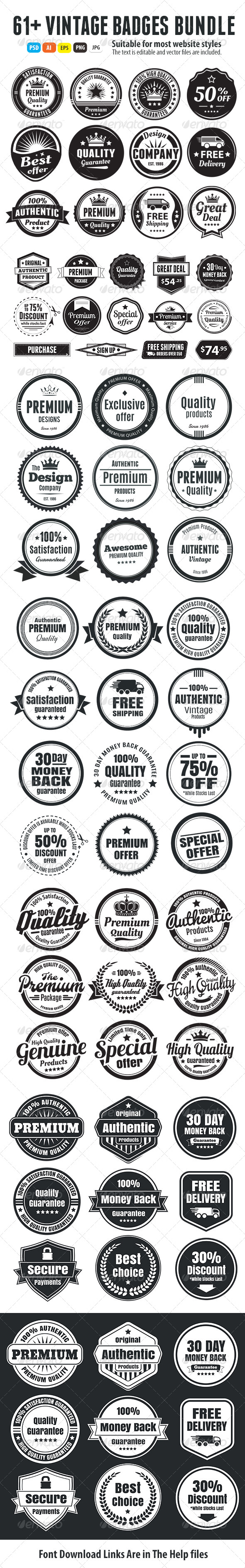 GraphicRiver 61& Vintage Badges Bundle 6848251