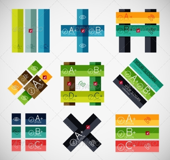 GraphicRiver Set of Stripe Infographic Templates 6848680