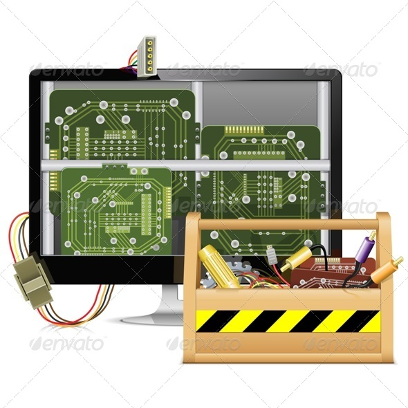 GraphicRiver Computer Repair with Toolbox 6850012