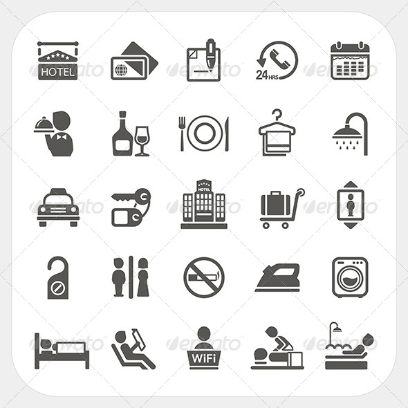 GraphicRiver Hotel and Hotel Services Icons Set 6850370