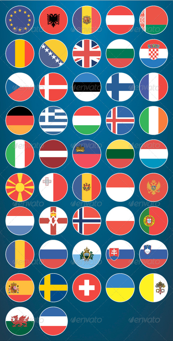 GraphicRiver Flat Flag Icons Europe 6850886