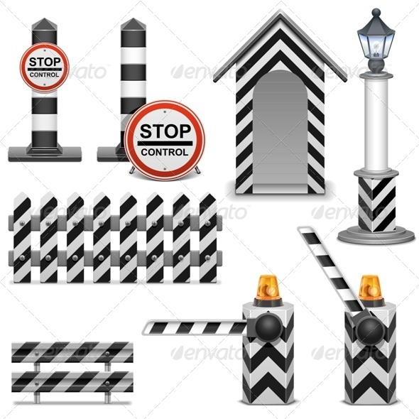 GraphicRiver Vector Police Barrier Icons 6851259