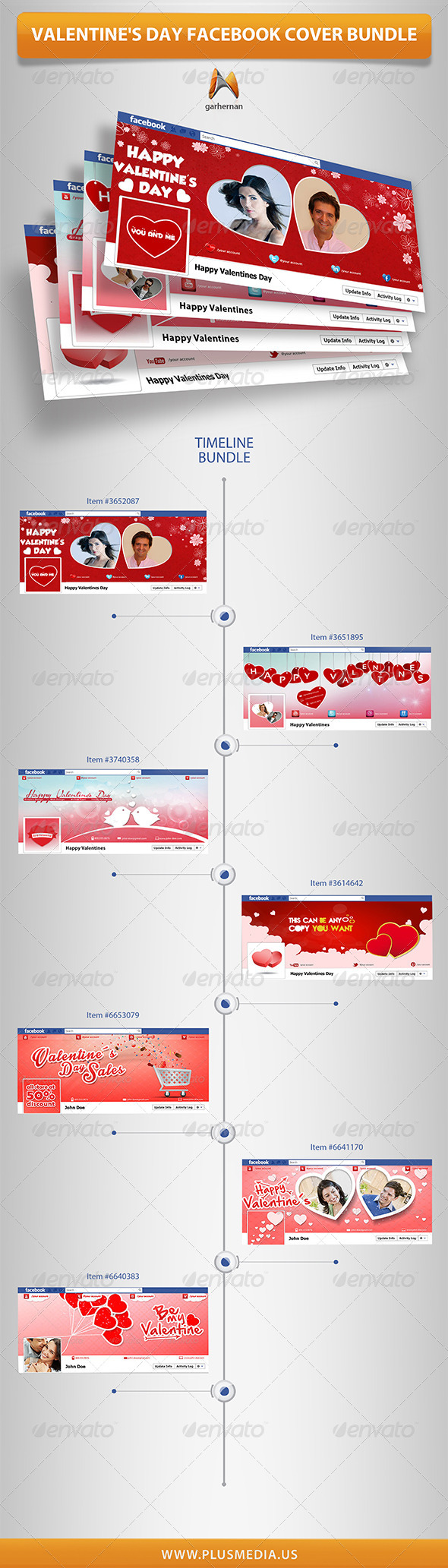 GraphicRiver Valentine s Day Facebook Cover Bundle 6852282