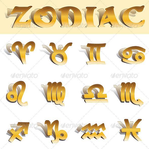 GraphicRiver Zodiac Gold Symbols 6852436