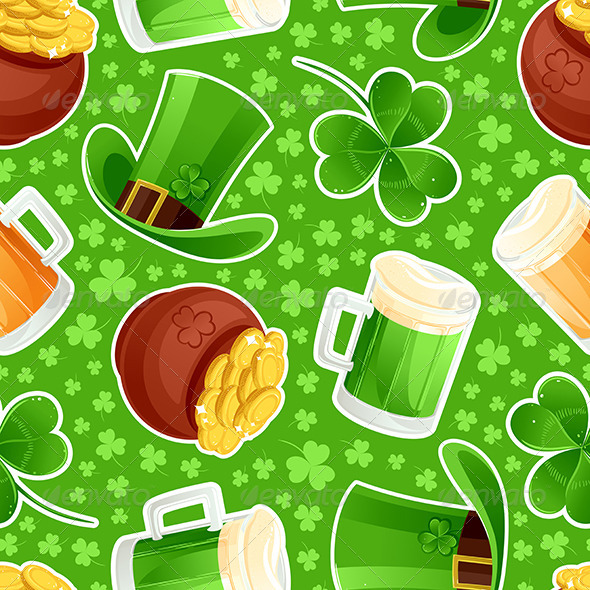 GraphicRiver Seamless Green Background St Patrick s Day 6852967