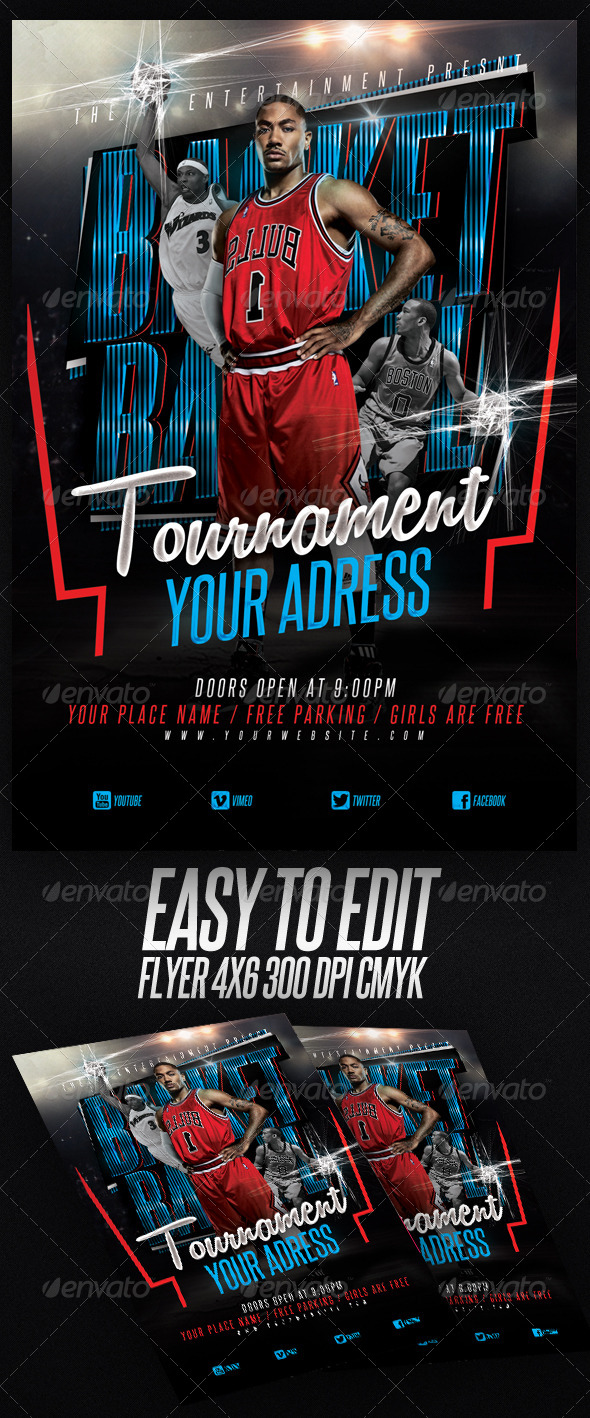 GraphicRiver Basketball Tournament Flyer Template 6854107