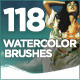 118 Handcrafted Watercolor Brushes - GraphicRiver Item for Sale