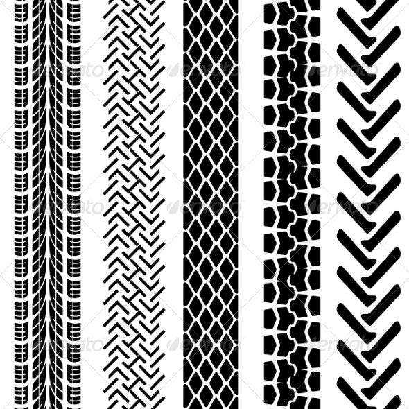 GraphicRiver Set of Detailed Tire Prints Vector Illustration 6855243