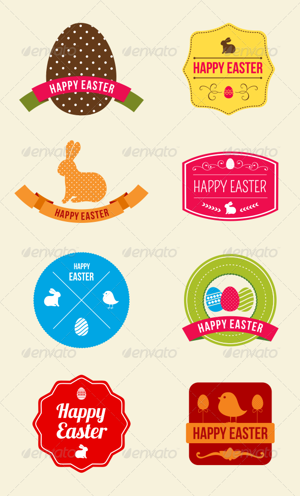 GraphicRiver Easter Hipster Vector Emblems and Badges 6855263