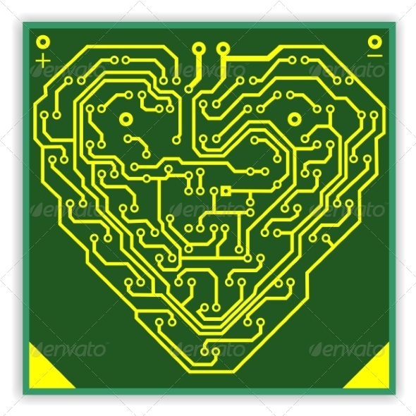 GraphicRiver Circuitboard Pattern in the Shape of a Heart 6855318