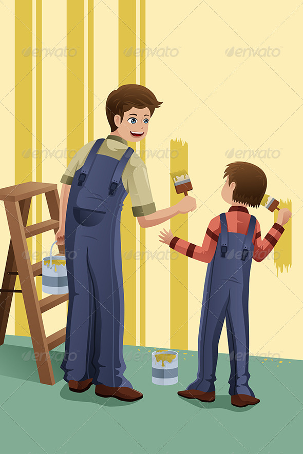 GraphicRiver Father Son Painting 6855802