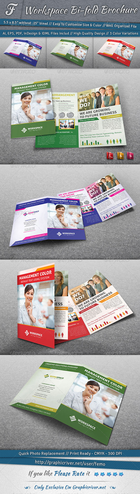 GraphicRiver Workspace Bi-fold Brochure 6856116