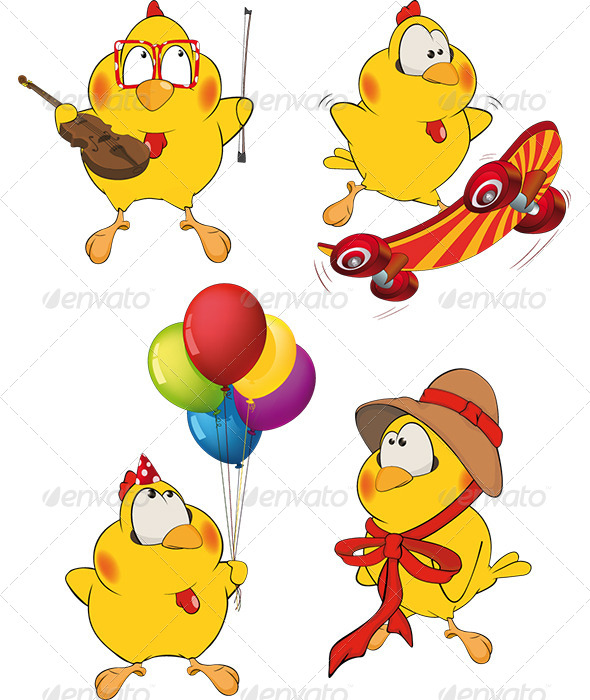 GraphicRiver Set of Chicken Cartoons 6856150